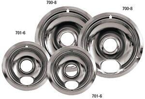 Drip Pans Reflector Bowl 4pc Set 6 and 8 Frigidaire Whirlpool Stove Range Chrome