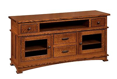 Amish Mission Kenwood TV Stand Cabinet Solid Wood Glass Doors Drawers Amish Glass Tv Stand