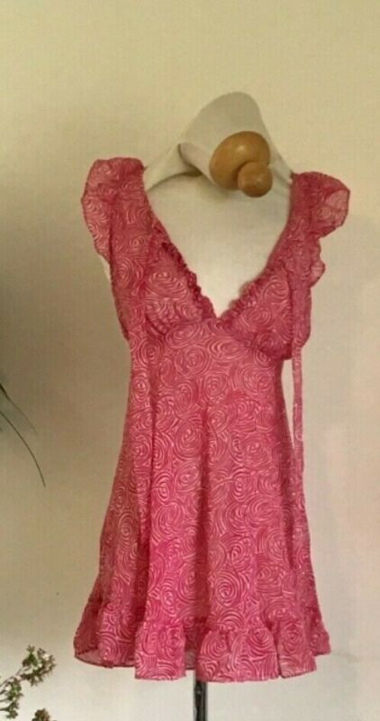 RARE Betsey Johnson Intimates Sheer Chemise with Cap Sleeves, Ruffled Hem, Red R