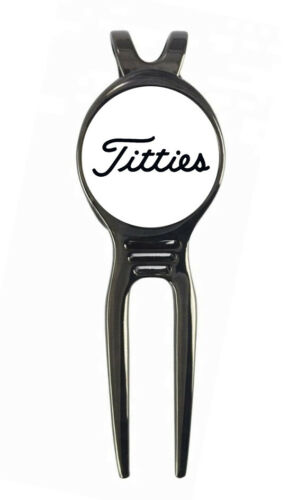 """Titties"" Novelty Golf Ball Marker + Black Gunmetal Divot Tool Gift"