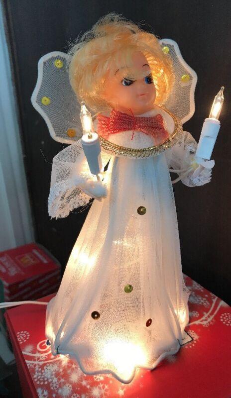 "Vintage Everglow Ten Light Angel Tree Top Christmas Flashing 7"" Tall"