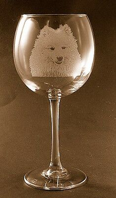 New Etched American Eskimo on Large Elegant Wine Glasses - Set of 2