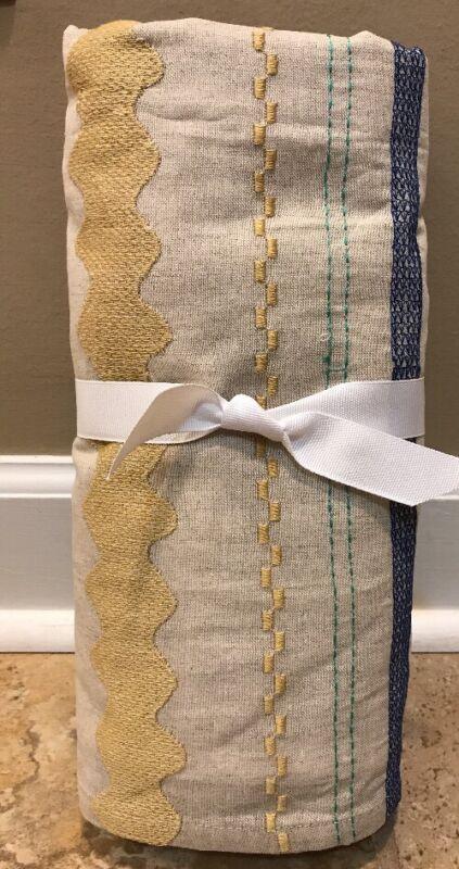 NEW Pottery Barn Kids Margherita Missoni Linen Embroidered Crib Skirt
