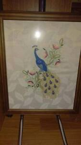 FRAMED TAPESTRY     FABRIC    PEACOCK Melrose Park Mitcham Area Preview