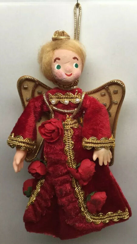 "Angel Christmas Tree Topper Red Girl Cardboard 6"" Table Table Display Vintage"