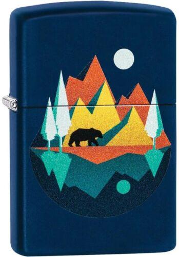 Zippo Geometric Bear, Moon and Mountains Design Navy Matte NEW RARE