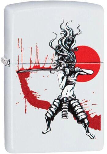 Zippo Samurai Girl with Blood Red Sun, Manga, Anime, White Matte NEW RARE