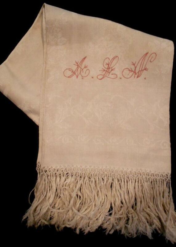 """VINTAGE DAMASK LINEN SHOW TOWEL TURKEY RED MONOGRAM ALN,SELF FRINGING 21""""x42"""" #1"""