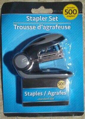 Mini Black Gray Office Stapler Set Includes 500 Standard Size Staples