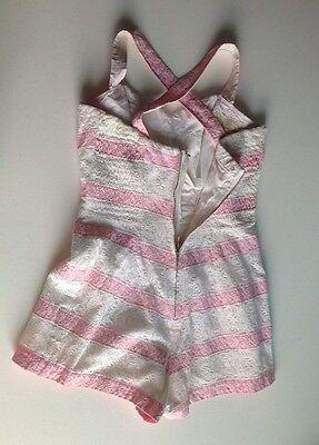 Rose Marie Reid Pink White Stripe Playsuit Romper 50s Eyelet Lace VLV Pin up