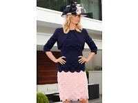 Mother of the Bride Navy / Pink Outfit & Hat - UK 14