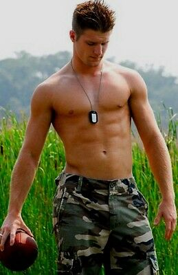 Shirtless Male Muscular Military Hunk Beefcake Hot Dude Jock Guy PHOTO 4X6 F833