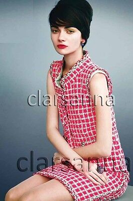 Chanel AUTH Pink Multicolor Leather Trims Side Slits Tweed Dress 38 NWT 14S