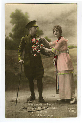 WWI ww1 First World War One First BRITISH SOLDIER & Sweetheart photo postcard
