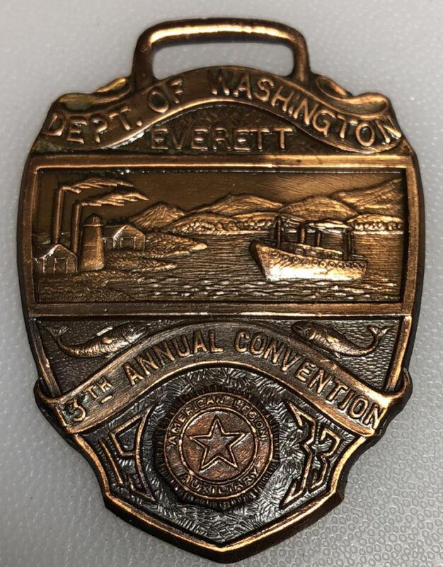 1933 Everett Washington American Legion Auxiliary Vintage Fob Pendant Medallion