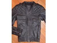 allsaints men black leather bomber jacker small