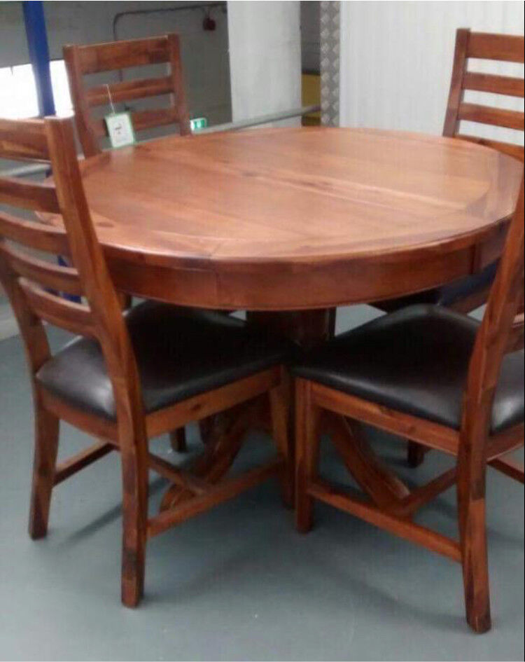 Solid Acacia Wood Round Extending Pedestal Dining Table Four