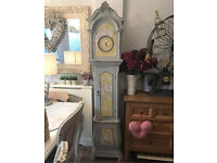 Shabby chic grey grandfather clock