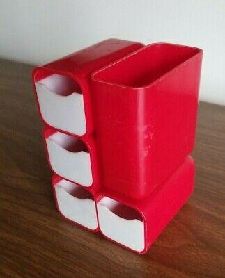 Vintage Hof Hong Kong Red Plastic Office Organizer 7412 Complete Desk Caddy