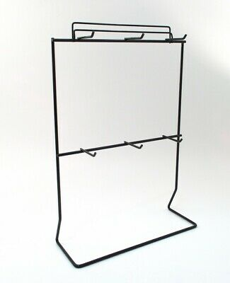 Black Metal Jewelry Display Stand For Necklaces Bracelets 6 Hooks 1.5 Deep