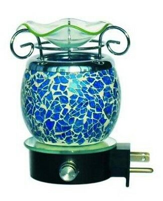 ELECTRIC WARMER BLUE BURNER WALL PLUGIN MOSAIC LAMP NIGHTLIGHT FRAGRANCE OIL