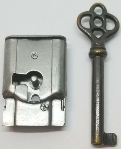 "Full Mortise Lock Skeleton Key 1-1/2"" X 1"" right antique vintage old desk drawer"