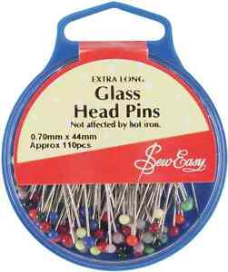 Sew Easy Glass Head Pins 44mm Ideal For Craft, Dressmaking and Patchwork!