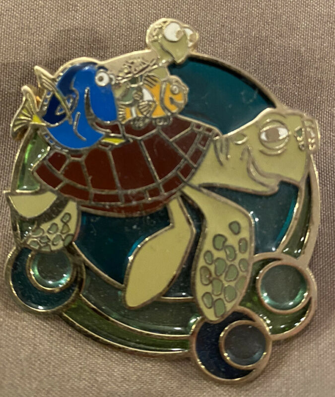 Disney Finding Nemo Stained Glass Turtle Ride Crush Squirt Dory Marlin Pin