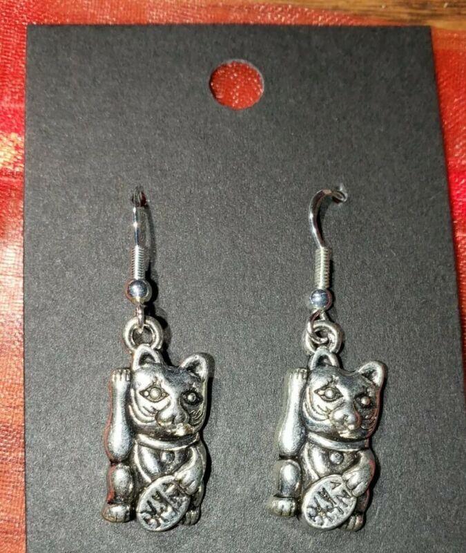 Maneki Neko Beckoning fortune Pewter Cat Charms & Sterling Silver Hooks Earrings
