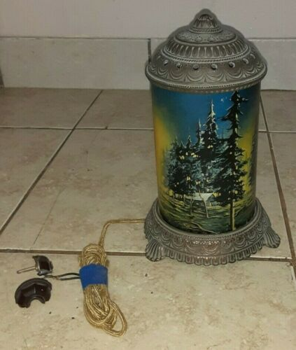 ANTIQUE-SCENE IN ACTION MOTION LAMP-FOREST FIRE **Untested**