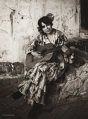 1922 Vintage SPAIN Granada GYPSY Female Dress Guitar Music Photo Art ~ HIELSCHER