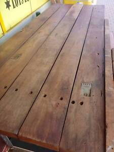 Industrial Rustic solid Jarrah Top Bench with vice Edwardstown Marion Area Preview