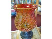 Morocan Style Orange Mosaic Glass Candleholder, Retro Style Mosaic Lamp, Unique Light, Vintage