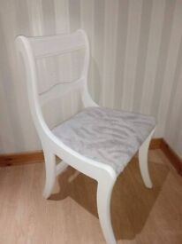 Bedroom Boudoir / Hall Chair - White / Grey Solid Wood