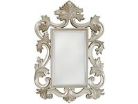 Antique Silver Extra Large Cannes Baroque Mirror