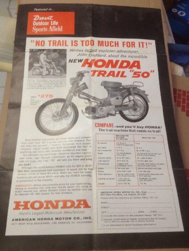 1960s Honda Trail 50 Dealership Poster Endorsed By John Goddard