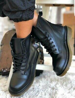 Stivali donna anfibi alti scarpe fibbie nero stivaletti tronchetti Eco pelle