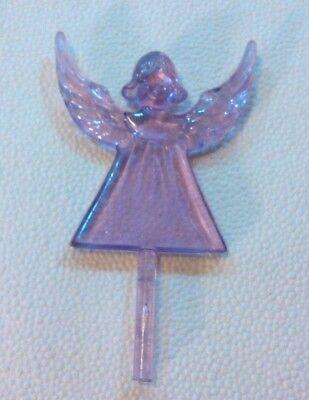 ANGEL Purple Ceramic Christmas Tree Topper Lights Pegs Bulbs RARE VINTAGE