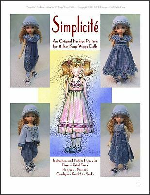 """Simplicité"" 11 inch Ball Jointed Doll BJD Kaye Wiggs Fashion Clothing Pattern"