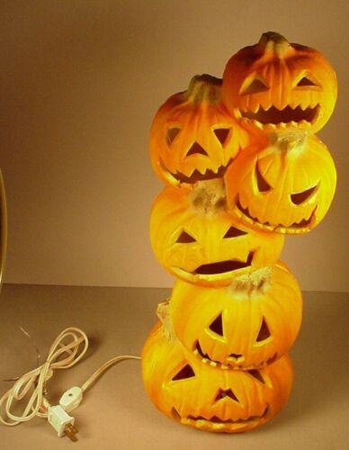 "Vintage Halloween Pumpkin Totem foam plastic Light up 18"" blow mold blowmold"