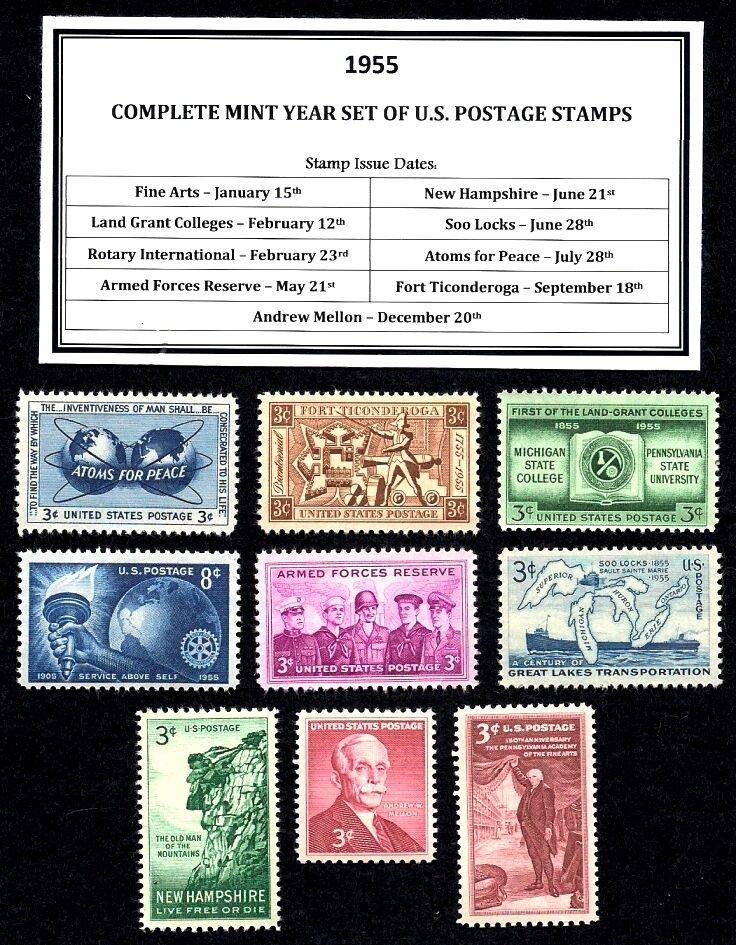 1950 - 1959 COMMEMORATIVE DECADE SET OF MINT -MNH- VINTAGE U.S. POSTAGE STAMPS