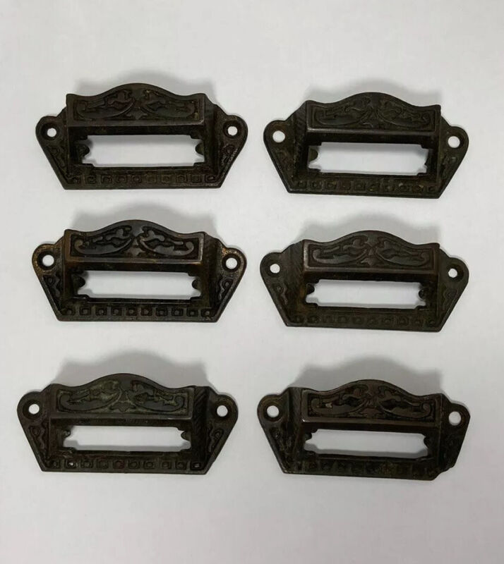 CAST Iron APOTHECARY Drug Store CABINET DRAWER PULLS Label INSERTS