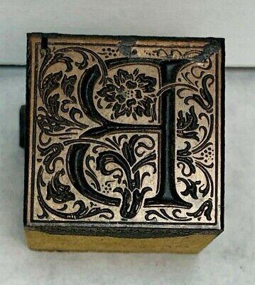 Vintage Letterpress Wood Print Block Ornate Initial Letter B