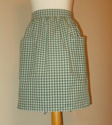 New 'Bottle Green Gingham ' Vintage Style Waist Apron/Pinny