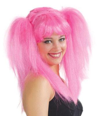 Pink Ladies Costume Women (Ladies 80s Wig Pink Ponytail Womens Fancy Dress Costume 1980s Party Big)