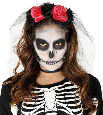 Rose Tiara & Schleier Tag der Toten Stirnband Rosen Halloween Kostüm ()