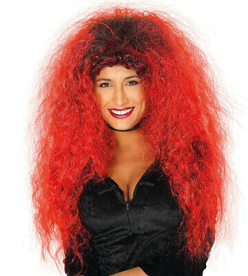 Ladies 80s Wig Womens Big Red Black Hair Fancy Dress - Big Hair Kostüm