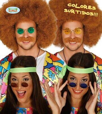 bunte Hippie Brille mit runden Gläsern 70er Jahre Party Zubehör für Erwachsene