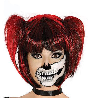 Damen Haarzöpfe Perücke Rot Schwarz Gotik Hexe Halloween Kostüm Neu
