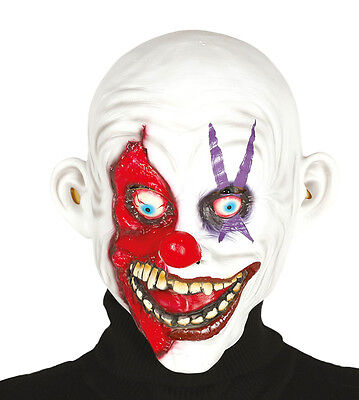 Smiling Killer Clown Horror Halloween Mask Red Nose Zombie Latex Costume Grin - Latex Clown Nose